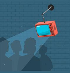People watch tv and propaganda vector