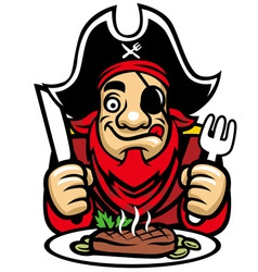 Pirate eat steak vector