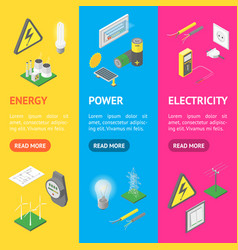 power signs icons set isometric view vector image