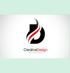 Red and black d letter design brush paint stroke vector