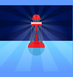 red plastic buoy with lighter in blue water vector image