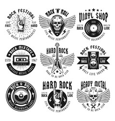 Rock and heavy metal music set emblems vector