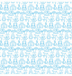 seamless pattern with icons travel items vector image