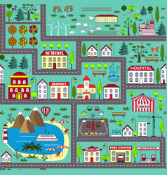 seamless road play mat for kids activity vector image