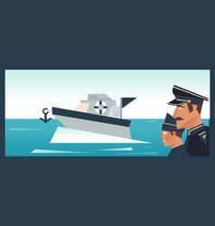 Sergeant ship and sailor boat yacht in sea vector