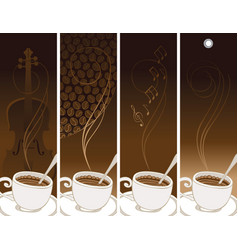 set of banners on the theme of coffee and music vector image
