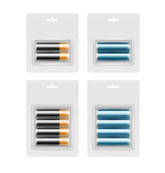 Set of batteries in transparent blister packed vector