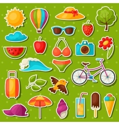Set of summer stickers Design for cards covers vector