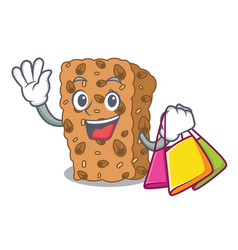 Shopping granola bar character cartoon vector