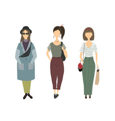 silhouettes girls young women vector image