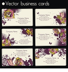 six business cards in floral design vector image