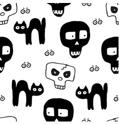 skulls hand drawn seamless pattern for halloween vector image