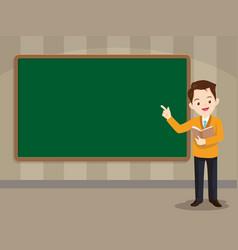 smart teacher standing in front of chalkboard vector image