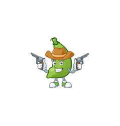 Smiling broad beans mascot icon as a cowboy vector