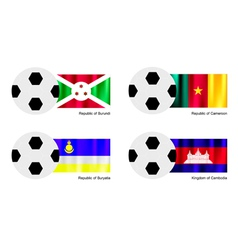 Soccer Ball with Burundi Cameroon Buryatia Flag vector