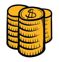 stack coins icon cartoon vector image