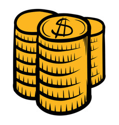 Stack of coins icon cartoon vector