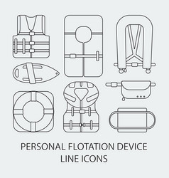 Thin line icon set life jackets icons vector