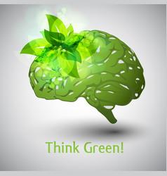 Think green brain vector