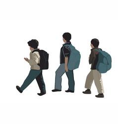 Three school students vector image