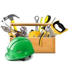 Toolbox with construction helmet vector