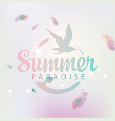 travel banner with words summer paradise and gull vector image