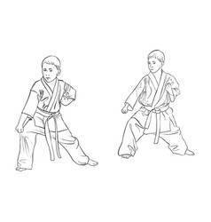 Two young karate boys vector