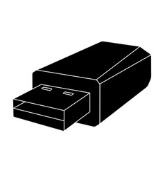 usb flash drive icon in black style isolated on vector image