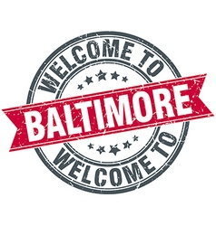 Welcome to baltimore red round vintage stamp vector