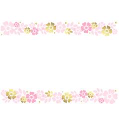 White background with stripes of pink flowers vector
