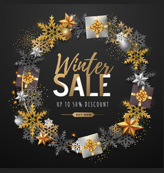 Winter big sale typography poster with snowflake vector