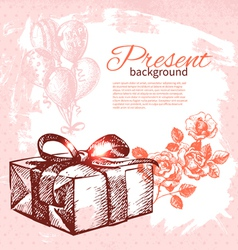 Hand drawn vintage present background vector image vector image