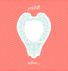 Pink and blue paper hearts with angel wings vector