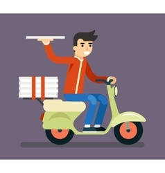 Pizza Delivery Courier Motorcycle Scooter Box vector image vector image
