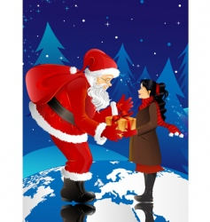 santa claus and little girl vector image
