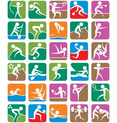 SUMMER SPORTS SYMBOLS COLORFUL vector image vector image