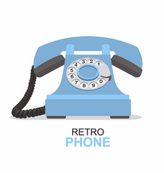 blue vintage telephone isolated on white vector image vector image