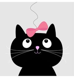 Cute cartoon black cat Card vector image vector image