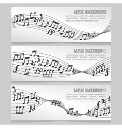 Music banners set with notes and sound wave vector image