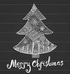 Ornamental hand drawn sketch of Christmas tree in vector image vector image