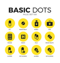 pills flat icons set vector image