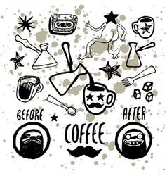 set of hand-drawn coffee elements for cafe menu vector image