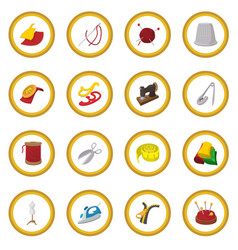 Sewing cartoon icon circle vector