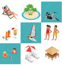 Summer set travel elements of sandy beach flat vector