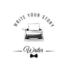 typewriter badge writer logo vector image vector image
