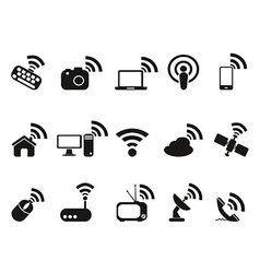 black wireless technology icons set vector image vector image