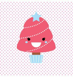 Cute beautiful pink tree on dotted background vector image vector image