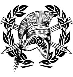 Legionnaires helmet crossed swords vector image vector image
