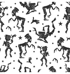 Black and White Dancing Zombies Seamless vector image vector image