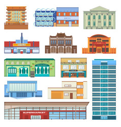 building facade of cityscape with skyscrapers vector image vector image